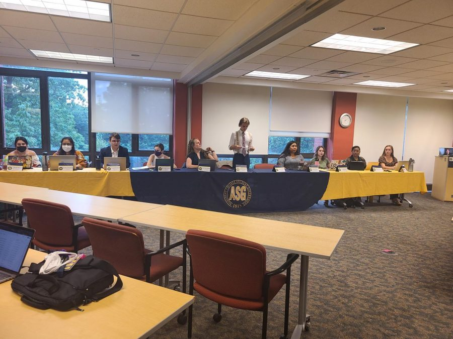 ASG met in-person Tuesday, Aug. 31, in CC 301/302 with President Noah Tart, '22 (center), at the head with his cabinet.