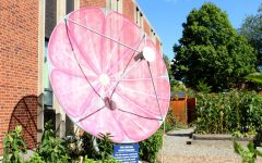 The radio telescope, located in the Carrden next to Carr Hall, was recently painted as a cosmos flower by Ben Ramsey, '22. Ramsey worked on the radio telescope as part of his summer research with Professor of Physics Dan Willey.