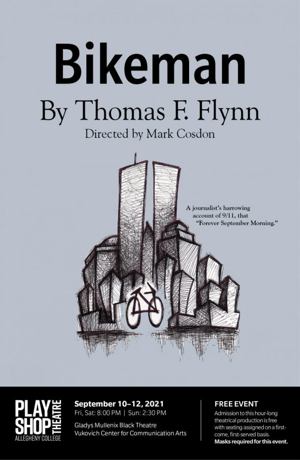 """This poster for """"Bikeman"""" references Flynn's ride to the World Trade Center on 9/11. Performances are Sept. 10 - 12."""