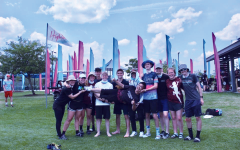 The Allegheny Hellbenders pose during their May 2021 High Tide Tournament in Myrtle Beach, SC. Pictured here, the team is carrying Jordan Wang, an opposing player from Stevens Institute of Technology