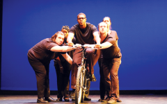 The performers of 'Bikeman' look on during dress rehearsal on Wednesday, Sept. 8. 'Bikeman' opens this weekend.