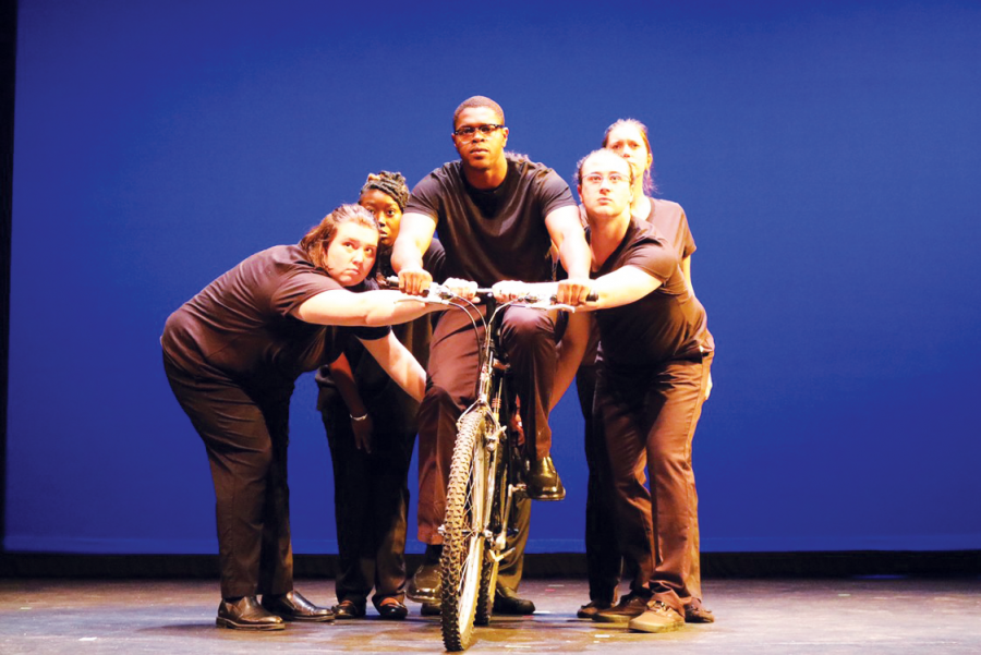 The+performers+of+%E2%80%98Bikeman%E2%80%99+look+on+during+dress+rehearsal+on+Wednesday%2C+Sept.+8.+%E2%80%98Bikeman%E2%80%99+opens+this+weekend.