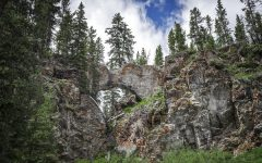 A picture of the natural land bridge in Yellowstone National Park. The volcano rests dormant, for now, beneath the park.