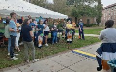 Students fill the Gator Quad for inagural Rocktoberfest on Oct. 14. Trivia, depicted here, was one of the many activities attendees had the chance to participate in.