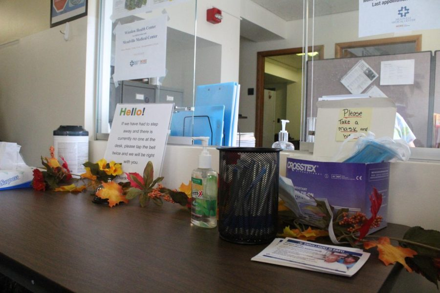 The sign-in counter at Winslow Health Center. In addition to calling ahead and making an appointment, drop-in appointments have reopened at the office in Schultz Hall.