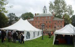 The catering tent (R) and main event tent erected on Brooks Lawn for the rededication. Not visible to the left was the check-in tent where attendees who RSVP'd received their nametags and tour group assignments.