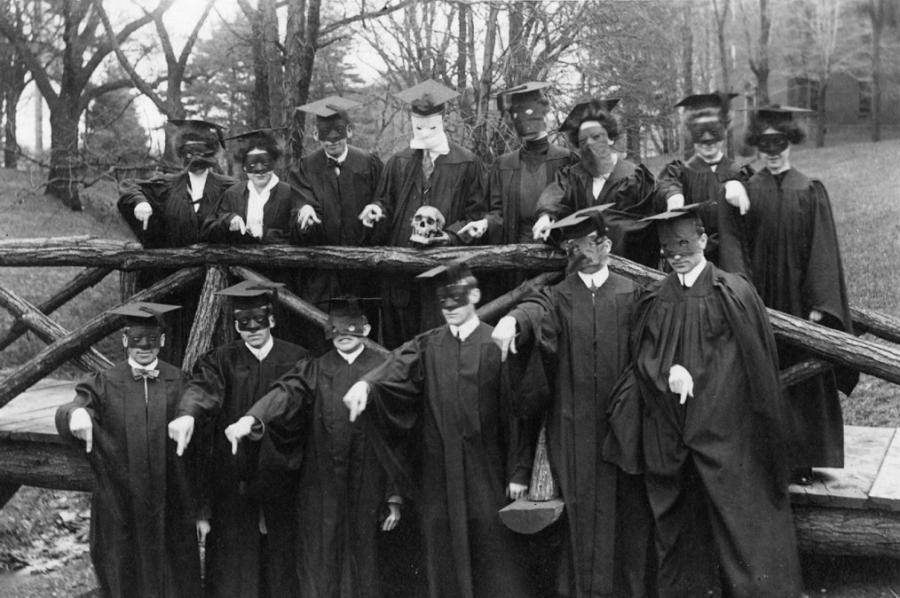 Photo contributed by Merrick Archives. The Mephistopheles society poses on the Rustic Bridge. This photo was published in the 1911 Kaldron, one year before the club seemingly disappeared from campus.