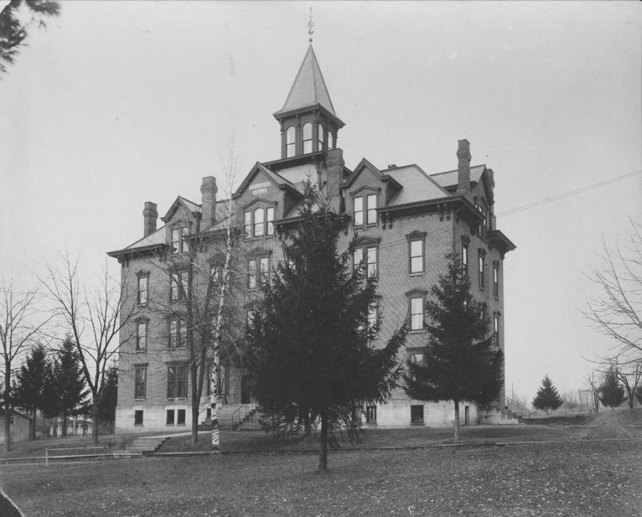 Via: Merrick Archives Digital Images Collection Hulings Hall, as seen here in 1881, was constructed in 1871 as the first residence hall for women on campus.